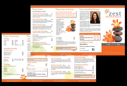 Brochure design for Zest Health and Beauty